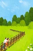 여름, 숲, 풍경 (컨셉), 나무, 풀 (식물), 가로장 (경계선), 커플