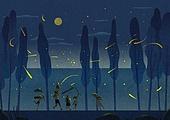 여름, 밤 (시간대), 풍경 (컨셉), 반딧불이 (딱정벌레), 보름달, 어린이 (나이)
