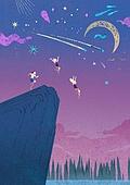 여름, 밤 (시간대), 풍경 (컨셉), 불꽃놀이 (엔터테인먼트이벤트), 다이빙 (내려가기), 절벽, 점프, 일몰 (땅거미), 초승달