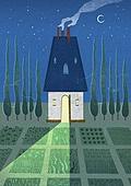 여름, 밤 (시간대), 풍경 (컨셉), 초승달, 쟁기질된밭 (들판), 빛 (자연현상)
