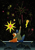 여름, 밤 (시간대), 풍경 (컨셉), 불꽃놀이 (엔터테인먼트이벤트), 애완견 (개), 소년