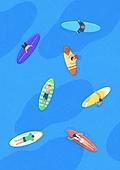 여름, 바다, 풍경 (컨셉), 휴가, 서핑, 탑앵글 (카메라앵글)