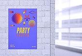 포스터, 파티, 백그라운드, 축제 (엔터테인먼트), 목업