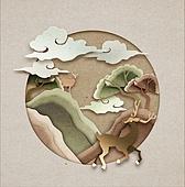 페이퍼아트, 전통문화 (주제), 프레임, 나무, 한국전통, 사슴 (발굽포유류), 구름