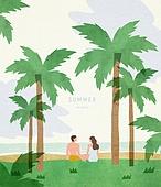 풍경 (컨셉), 야자나무 (열대나무), 여름, 바다, 해변, 사람