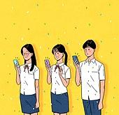 대학수학능력시험 (시험), 고등학생, 교복, 여름, 꽃가루, 밝은표정, 스마트폰