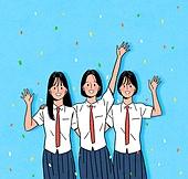 대학수학능력시험 (시험), 고등학생, 교복, 여름, 꽃가루, 밝은표정, 여학생, 웨이빙 (제스처)