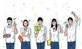 대학수학능력시험 (시험), 고등학생, 교복, 여름, 꽃가루, 밝은표정, 환호, 합격, 마스크 (방호용품), 코로나바이러스 (바이러스)