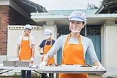 기부, 지역봉사활동 (사회복지), 사회복지, 요리사, 직업, 미소, 음식서빙 (움직이는활동), 쟁반