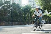 남성, 자전거, 배달 (일), 계약직, 서비스업 (직업), 배달부 (직업)
