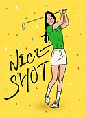 레저활동 (활동), 취미, 운동, 골프, 골퍼 (선수), 꽃가루, 스윙, 여성 (성별)