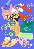 여름, 액세서리 (인조물건), 강렬한색 (색상강도), 비키니, 샌들, 수영복