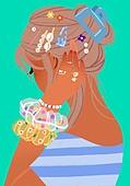 여름, 액세서리 (인조물건), 강렬한색 (색상강도), 뒷모습, 쪽머리 (헤어스타일), 헤어액세서리 (헤어케어)