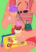 여름, 액세서리 (인조물건), 강렬한색 (색상강도), 아이스크림, 사람손 (주요신체부분), 수영복