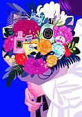 여름, 액세서리 (인조물건), 강렬한색 (색상강도), 꽃다발, 향수