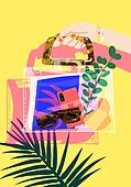 여름, 액세서리 (인조물건), 강렬한색 (색상강도), 가방 (인조물건), 투명 (비침), 잎, 사람손 (주요신체부분)