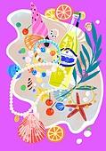 여름, 액세서리 (인조물건), 강렬한색 (색상강도), 목걸이 (쥬얼리), 팔찌, 비즈, 불가사리
