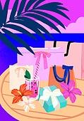 여름, 액세서리 (인조물건), 강렬한색 (색상강도), 잎, 쇼핑백, 선물상자