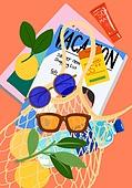 여름, 액세서리 (인조물건), 강렬한색 (색상강도), 가방, 선글라스, 잎, 잡지