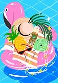 여름, 액세서리 (인조물건), 강렬한색 (색상강도), 물놀이튜브 (부풀림), 모자, 파인애플, 선글라스