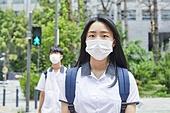 십대 (나이), 고등학생, 중학생, 학생, 출석 (움직이는활동), 코로나바이러스, 코로나19 (코로나바이러스), 마스크 (방호용품), 감기예방마스크 (마스크)