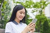고등학생, 교육 (주제), 중학생, 학생, 친구, 친구 (컨셉), 학교생활, 스마트폰, 화상통화, 여학생, 십대소녀