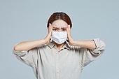 마스크 (방호용품), 코로나바이러스 (바이러스), 코로나19 (코로나바이러스), 감기예방마스크 (마스크), 두통, 고통 (컨셉)