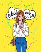 여성 (성별), 쇼핑 (상업활동), 상업이벤트 (사건), 만화, 꽃가루, 밝은표정, 말풍선, 스마트폰