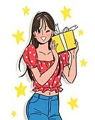 여성 (성별), 쇼핑 (상업활동), 상업이벤트 (사건), 만화, 선물 (인조물건), 윙크, 별모양 (도형)