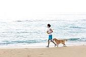 남성, 리트리버, 반려동물 (길든동물), 휴가, 해변, 조깅 (운동), 아침