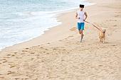 남성, 리트리버, 반려동물 (길든동물), 휴가, 해변, 애완동물목걸이 (애완동물장비), 조깅 (운동)