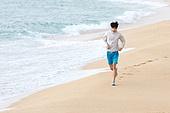 남성, 해변, 아침, 조깅 (운동)