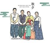 일러스트, 추석 (명절), 선물세트 (선물), 가족, 한복, 한국문화 (세계문화), 설 (명절), 새해 (홀리데이)