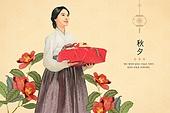 일러스트, 전통문화 (주제) 한옥 (한국전통) 한국전통문양 (패턴), 한국전통문양 (패턴), 전통의상 (옷), 추석 (명절) 선물세트 (선물), 설 (명절), 명절 (한국문화), 연하장 (축하카드)