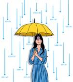 금융, 주권 (증명서), 주식시장 (금융), 자산관리, 자산관리 (금융), 투자, 비즈니스, 화이트칼라 (전문직), 30대 (장년), 우산 (액세서리), 비 (물형태)