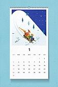 소띠해 (십이지신), 2021년, 달력, 벽걸이, 목업, 드로잉작품 (미술품), 겨울, 1월