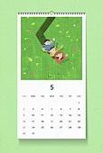소띠해 (십이지신), 2021년, 달력, 벽걸이, 목업, 드로잉작품 (미술품), 봄, 5월