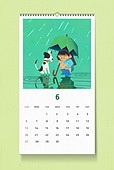 소띠해 (십이지신), 2021년, 달력, 벽걸이, 목업, 드로잉작품 (미술품), 여름, 6월