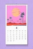 소띠해 (십이지신), 2021년, 달력, 벽걸이, 목업, 드로잉작품 (미술품), 여름, 8월