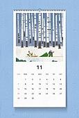 소띠해 (십이지신), 2021년, 달력, 벽걸이, 목업, 드로잉작품 (미술품), 11월