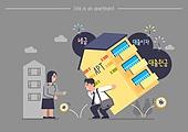 집, 아파트, 주거건물 (건설물), 대출, 집 (주거건물), 주택소유 (부동산), 대출 (금융아이템), 금리 (금융), 스트레스 (컨셉)