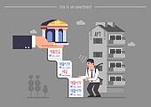 집, 아파트, 주거건물 (건설물), 대출, 집 (주거건물), 주택소유 (부동산), 대출 (금융아이템), 금리 (금융), 스트레스 (컨셉), 고지서 (금융아이템)