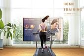 비대면 (사회이슈), 홈트레이닝, 다이어트, 운동, 집콕 (컨셉), 실내, 건강한생활 (주제), 런닝머신 (운동기계)