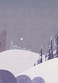 풍경 (컨셉), 계절, 자연풍경, 겨울, 언덕, 보름달