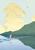 풍경 (컨셉), 계절, 자연풍경, 구름, 돌다리, 강변 (지세)