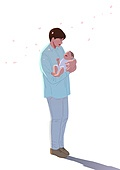 아빠, 아들, 가족, 애정표현 (밝은표정), 신생아