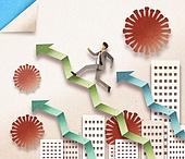 종이 (재료), 페이퍼아트, 코로나바이러스 (바이러스), 코로나19 (코로나바이러스), 비즈니스, 마스크 (방호용품), 고층빌딩 (회사건물), 그래프, 바이러스