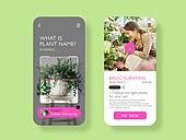 모바일템플릿, Graphical User Interface (Topic), 집콕 (컨셉), 비대면 (사회이슈), 취미, 반려식물, 원예 (레저활동), 동영상강의