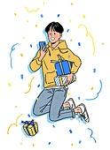 상업이벤트 (사건), 꽃가루, 기쁨 (컨셉), 축하 (컨셉), 선물 (인조물건), 당첨, 점프