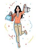 상업이벤트 (사건), 꽃가루, 기쁨 (컨셉), 축하 (컨셉), 쇼핑백, 쇼핑 (상업활동), 점프